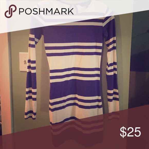French Connection dress Purple and white striped French Connection dress. Size 2, looks great with leggings or tights.  Curve hugging and very sexy on. French Connection Dresses Mini