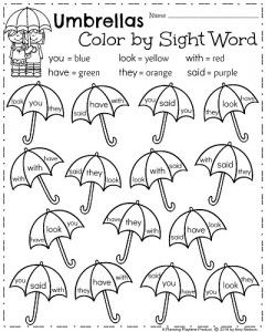 Kindergarten ELA Worksheets for Spring - April Color by Sight Words Umbrellas