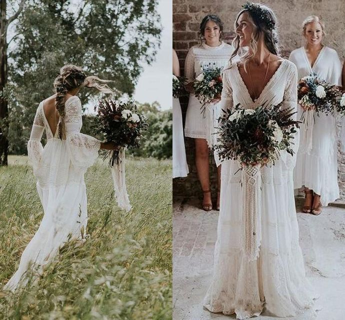 Bohemian Lace Wedding ceremony Attire 2019 V Neck Lengthy Sleeves Backless A Line Flooring Size Seaside Backyard Nation Bridal Robes Plus Measurement