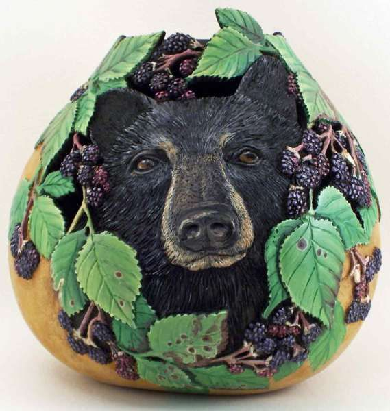 Gourd - Black Bear In The Blackberry Patch....By Phyllis Sickles