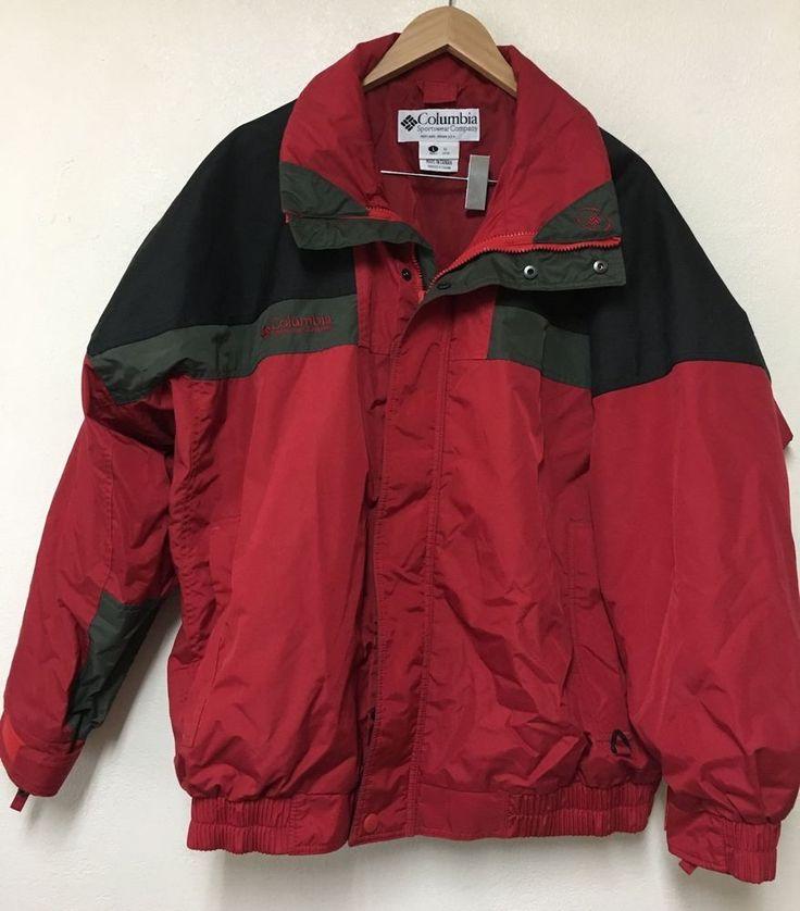 Columbia Sportswear Red Jacket Ski Sz. L Double Zipper Glove Tabs Lined #Columbia #Ski