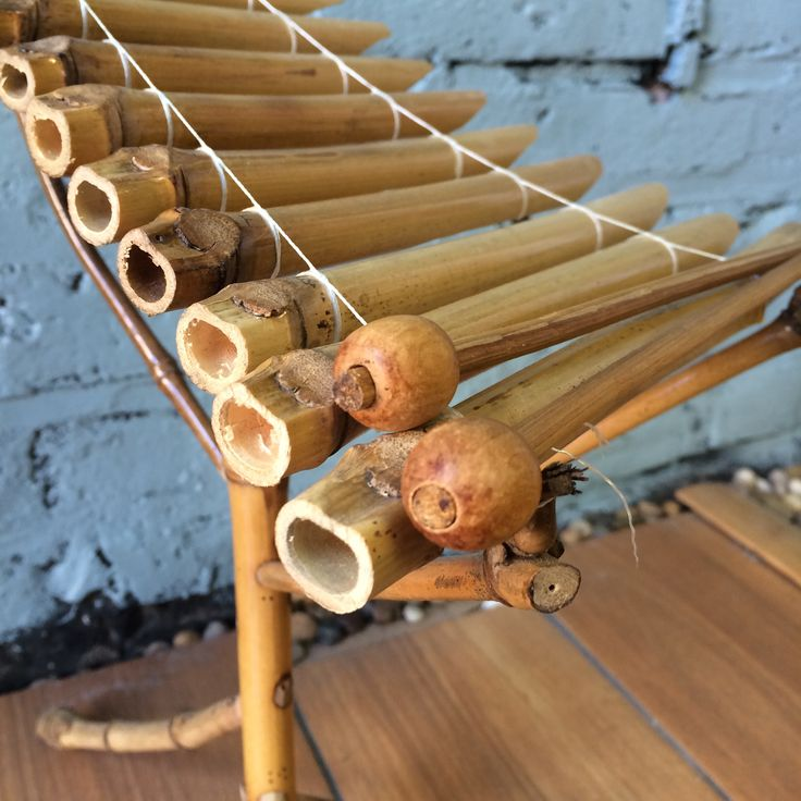 """The t'rung is a bamboo xylophone imported from Vietnam, traditionally played by the Vietnamese of the Central Highlands. This stands 17"""" tall and is pitched for full playability with a world aesthetic."""