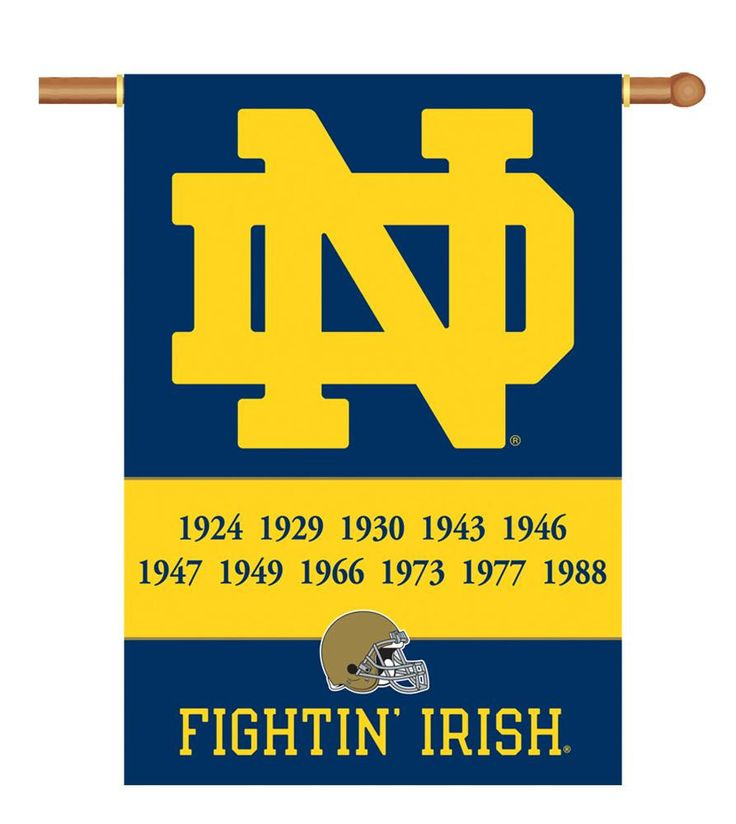"Notre Dame Championship Years 2-Sided 28"" X 40"" Banner W/ Pole Sleeve NCAA Football"