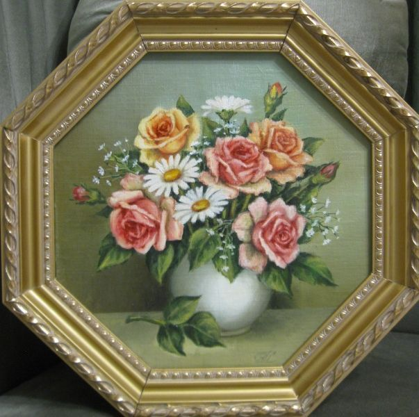 Розы и ромашки (холст,масло)-художник Ядвига Сенько