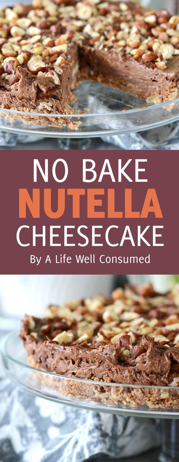 An easy No-bake Nutella Espresso Cheesecake recipe to make for World Nutella Day! Delicious, decadent, creamy, chocolatey cheesecake that showcases Nutella.