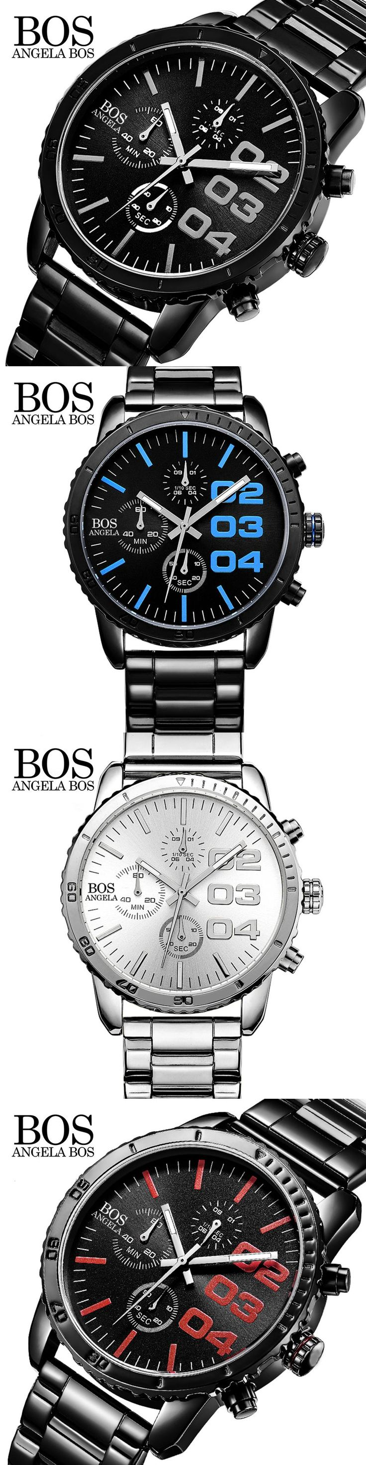 ANGELA BOS Sport Watches For Men Chronograph Stop Watch Stainless Steel Cool Luxury Watch Men Famous Brand Quartz Men's Watches