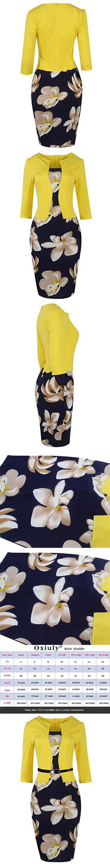 Oxiuly Women's Patchwork Stretch Foral Print Optical Illusion Formal Dress OX166 (M, Yellow + White Flower 3/4 Sleeve)
