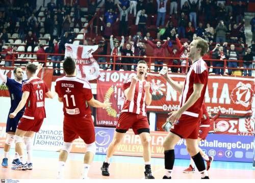 CEV Volley Challenge Cup Men. Round 16. 17/01/2018. Γυμναστήριο ''Μελίνα Μερκούρη'' Ρέντη. Olympiacos S.F.P Piraeus - Lokomotiv Baku 3-0 (25-22,25-15,25-08).