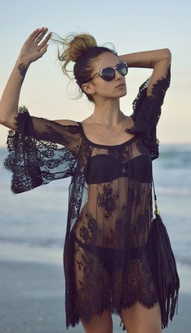 Lace beach coverup - might be too 'bedroom' love the hair, sunnies, and inside wrist tat