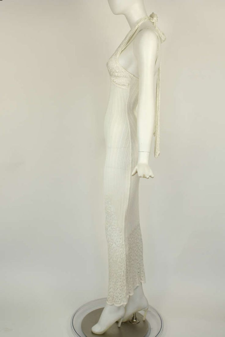 John Galliano White Open Knit Resort Dress / Beach Wedding | From a collection of rare vintage day dresses at http://www.1stdibs.com/fashion/clothing/day-dresses/