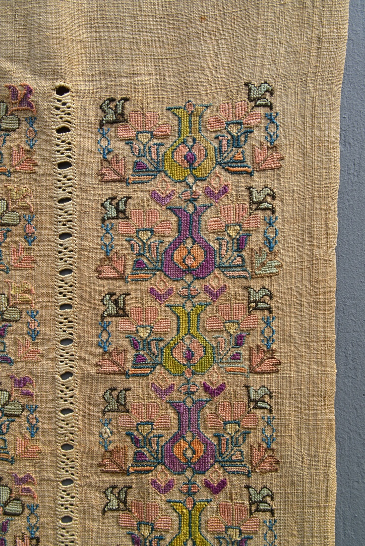 Close up of Antique 1850 Ottoman Tulip Embroidery Tapestry, 18 inches by 30 inches.  Beautiful stitchwork, great colors.