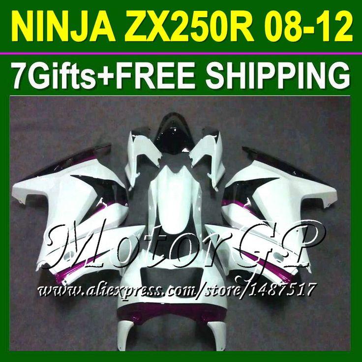 Купить товар7 подарки для Kawasaki ниндзя 250r 08 09 10 11 12 ZX250 фиолетовый белый ZX 250 16 # 178 2008 2009 2010 ZX250R белый зализа в категории Щитки и художественная формовкана AliExpress.