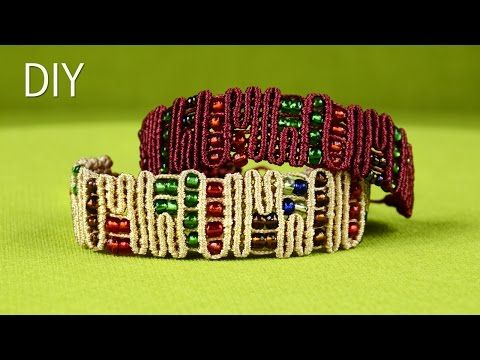 Snaky ZigZag Lines with Beads - Egyptian Bracelet Tutorial - YouTube