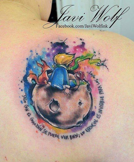 Watercolor moon rider tattoo