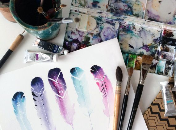 In the making. Tribal Feathers Art Print. Watercolor Illustration. Boho Wall Decor. Aztec Feathers.