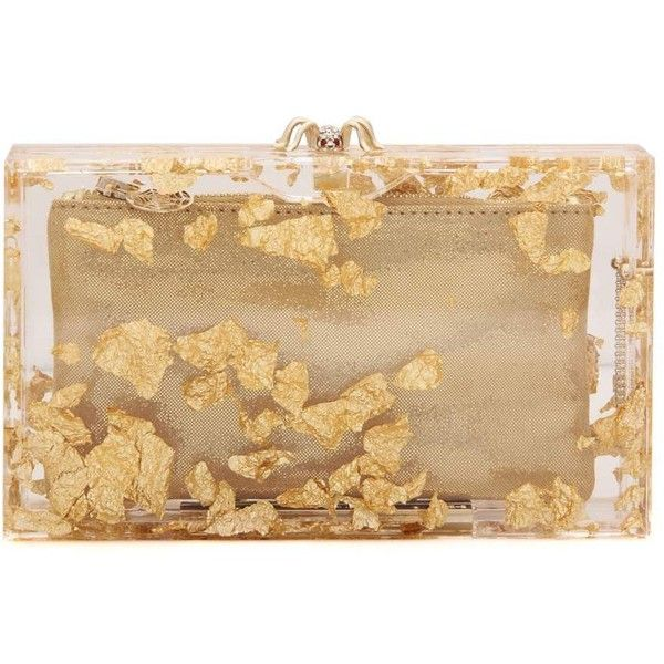 Charlotte Olympia Pandora Box Clutch (£1,115) ❤ liked on Polyvore featuring bags, handbags, clutches, gold, gold purse, charlotte olympia clutches, beige handbags, gold handbags and gold clutches