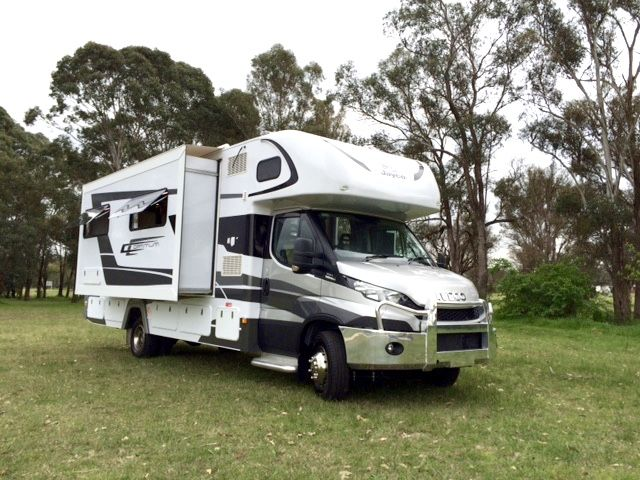 """Morning! Malcolm is on the job checking out the big Optimum IV.28-5 from Jayco Sydney. Built on the latest Iveco Daily, at 8.7 m (28' 6"""") and with a GVM of 7 tonnes it's a big motorhome with room to spare. Watch for a full review in iMotorhome issue 104 on October 1st!"""