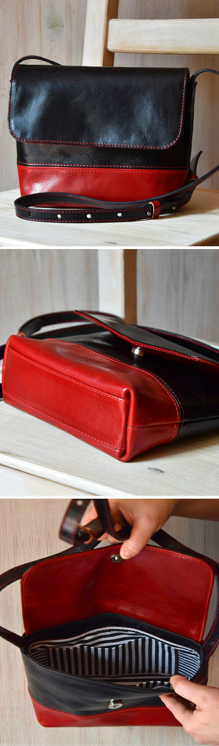 Black and red combination. Handmade leather shoulder bag.