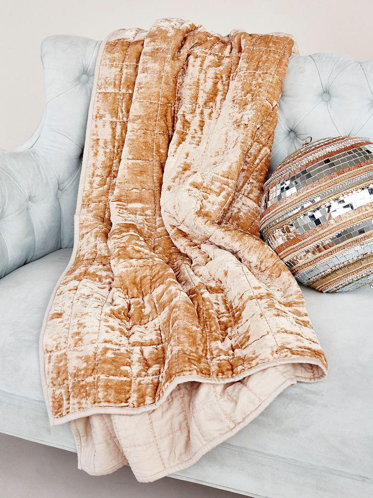 Cloud Nine Velvet Blanket | Reach cloud nine when you cozy up in this so soft velvet blanket. One side lined.