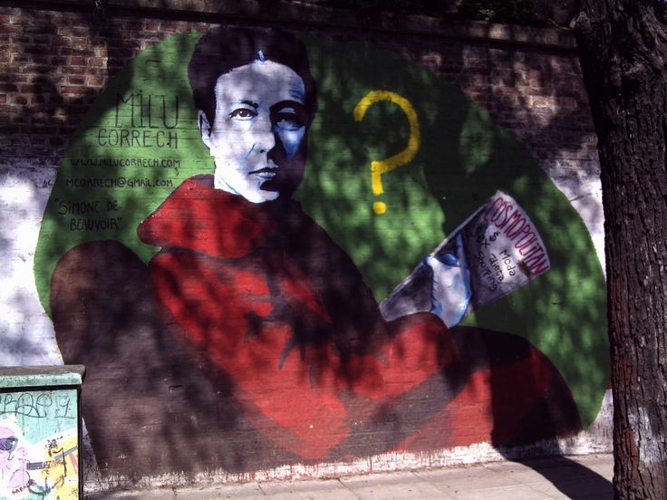 "Simone de Beauvoir leyendo la Cosmopolitan. B° de Palermo 34°34'21.8""S 58°25'37.2""W"