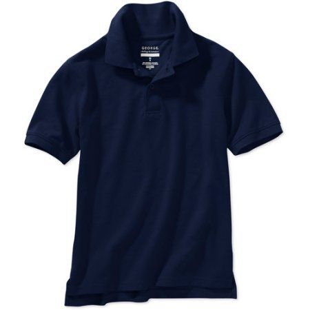 George Boys School Uniforms Husky Size Short Sleeve Polo Shirt with Scotchgard Stain Resistant Treatment, Blue