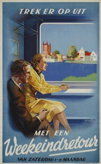 "Dutch vintage rail travel poster. ""Trek er op uit. Met een Weekwindrestour. Van Zaterdag t-m Maandag.""   Translation: ""Venture out. With a Weekwindres tour. From Saturday to Monday."" From the Spoorwegmuseum."