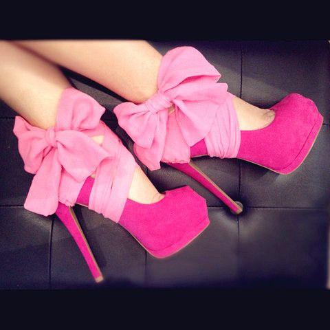 pink Louboutins stilettos.  LOVEFashion, Highheels, Pink Ribbons, Pink Heels, Pink Bows, Pump, Hot Pink, High Heels, Pink Shoes