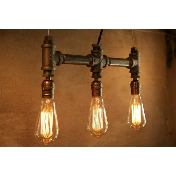 3 Bulb Classic Edison Bulb Iron Pipe Pendant Lamp Urban Industrial... ($98) ❤ liked on Polyvore featuring brown, chandeliers & pendant lights, home & living and lighting