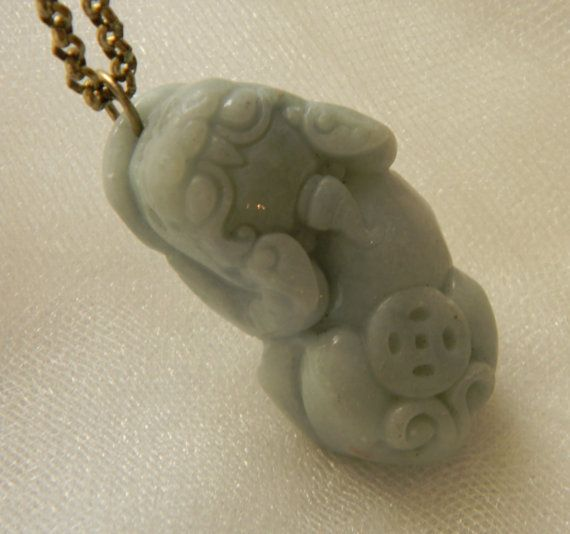 54 best carved chinese jade necklaces images on pinterest bead jade fu dog pendant w brass chain necklace guardian lion protection talisman shishi jade jewelry unusual blue jade pendant foo dog aloadofball Images