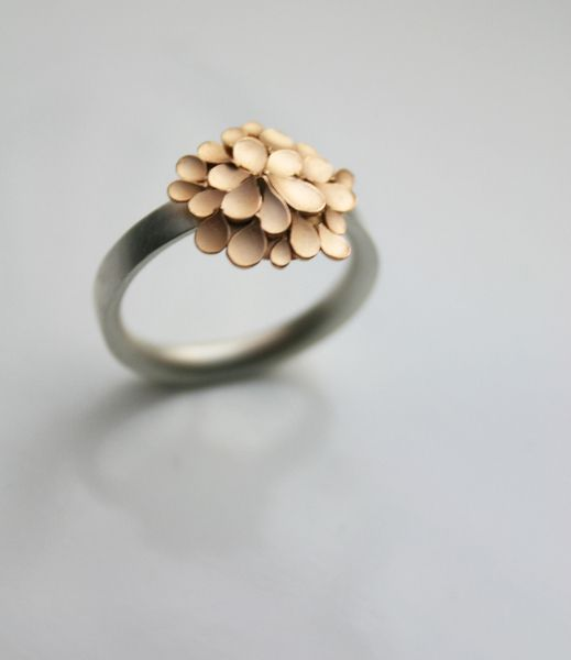 Beautiful 'Dahlia'  Rose gold & silver Ring van dkjewellery op DaWanda.com
