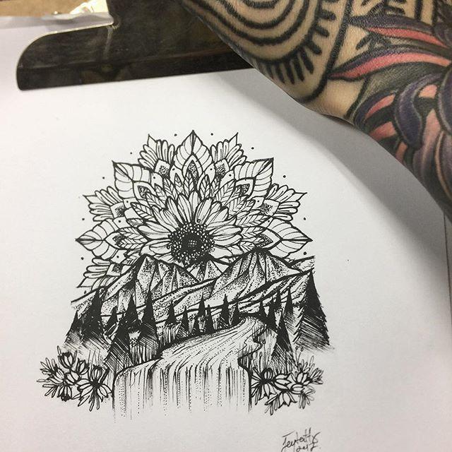 Mandala nature greyscale tattoo