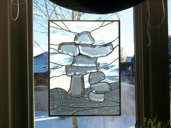 Stained Glass Inukshuk Panel  smaller by sunfirestainedglass, $150.00