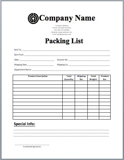 packing list sample form