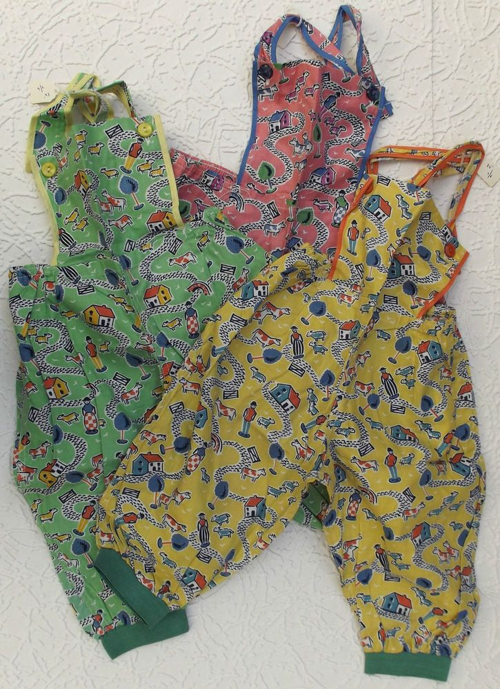 Vintage childrens clothes dungarees unused 1950s farm for Vintage childrens fabric prints