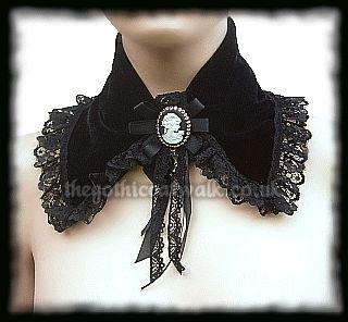 Black Velvet Gothic Victorian Steampunk Cameo Collar
