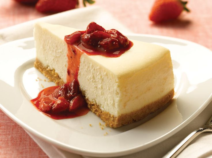 Village Inn New York Style Cheesecake: A classic, New York-style cheesecake made with rich PHILADELPHIA® cream cheese, baked inside a graham cracker crust. Try with sweet strawberries in strawberry sauce, or with blueberry toppings for an additional charge.