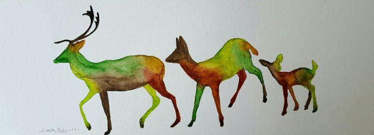 Deer family 1 Artist Lorna Pauls  Watercolors on 300g Bockingford paper  Done April 2017