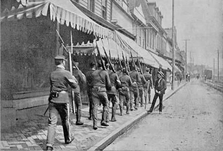 National Guard patrol the streets during the homestead strike, caused by wage cuts.