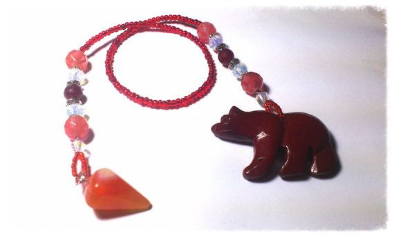 Pendulum of Agate and Carved Red Jasper Bear  by SummerLovinChic