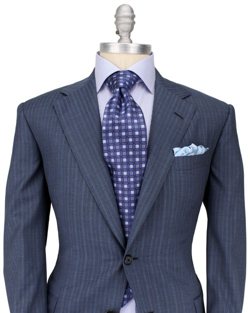 Oxxford - Grey with Blue Shadow Stripe Suit #Aim2Win