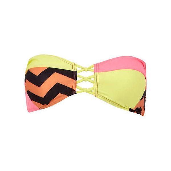 (6) Black color block aztec bandeau bikini top - bikinis - swimwear /... ❤ liked on Polyvore featuring swimwear, bikinis, bikini tops, aztec print bikinis, color block swimwear, colorblock swimwear and aztec bikini top