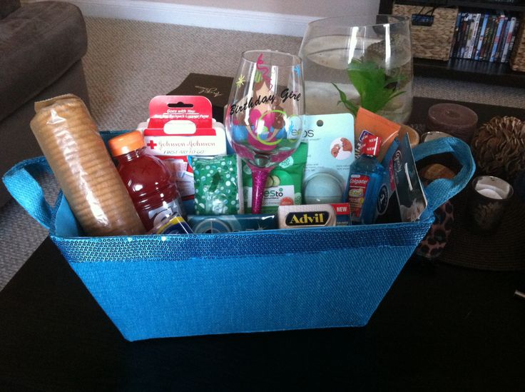 """Hangover kit! Made this for my best friends 21st! Kit it includes """"birthday girl"""" wine glass to get the party started, then some things for recovery day. Gatorade, crackers, first aid kit, tums, Kleenex, gum, mouthwash, makeup remover wipes, Chapstick, Advil, face wash, hair elastic"""