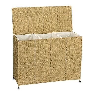This attractively styled woven seagrass hamper has three separate sections with removable, washable liners so you can sort your laundry with ease.
