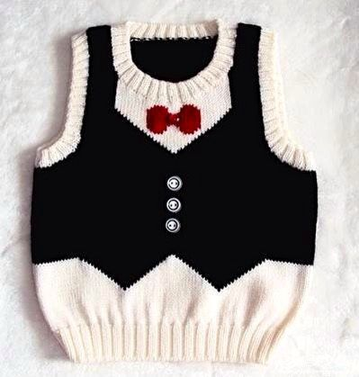 Hand Knitted Baby Boy Sweater Unique Vest Design by YarnsInMotion