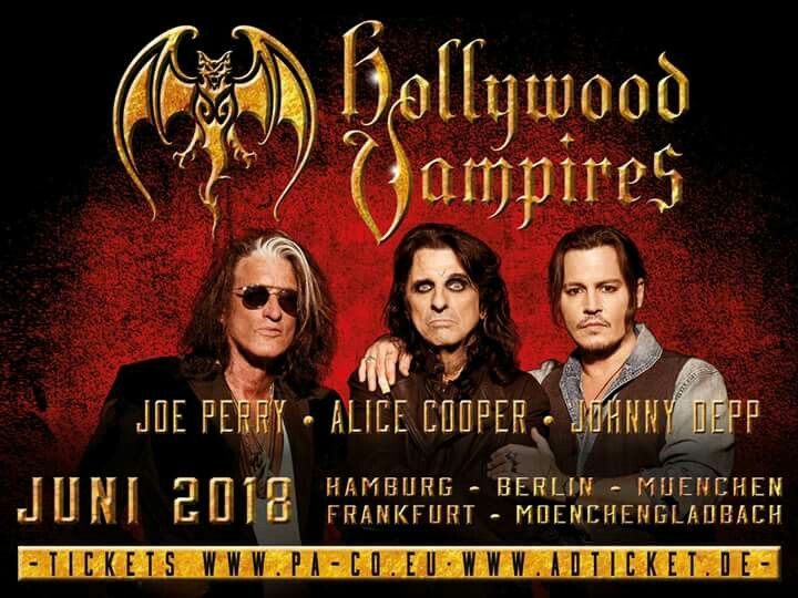 The Hollywood Vampires are back!!! Coming to a lair near you this summer! First 5 show announced. June 2nd – Hamburg, Stadtpark June 4th – Berlin, Zitadelle Spandau June 14th – Mönchengladbach, Sparkassenpark June 27th – Munich, Tollwood June 29th – Frankfurt, Jahrhunderthalle Tickets go on sale November 2nd. For tickets visit: www.hollywoodvampires.com / www.pa-co.eu / www.adticket.de Hollywood Vampires Germany OnTour AliceCooper JohnnyDepp JoePerry