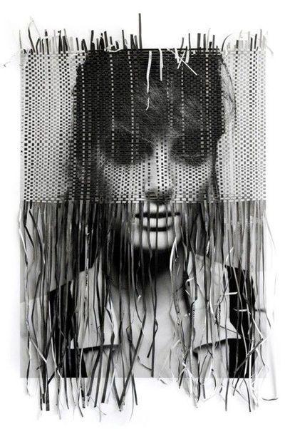 Paper weaving - self portrait