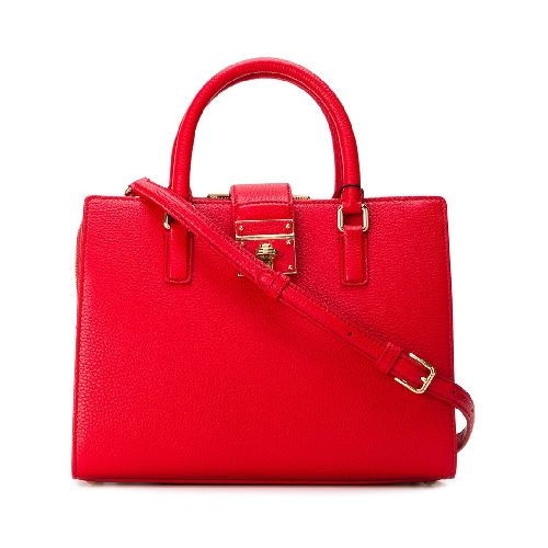 Red calf leather 'Rosalia' tote from Dolce & Gabbana featuring a pebbled leather texture, gold-tone hardware, round top handles, a detachable and adjustable shoulder strap, foldover top with twist-lock closure, multiple interior compartments, an interior zipped compartment, an internal zipped pocket, an internal phone compartment and an internal logo plaque. Size: OS. Color: Red. Gender: Female. Material: Calf Leather.