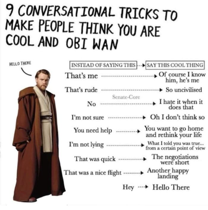 Hello There Not Mine Star Wars Quotes Star Wars Facts Star Wars Humor