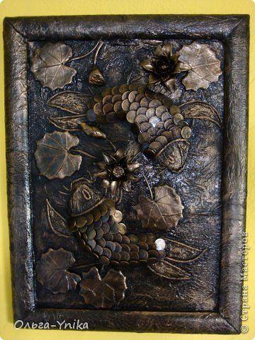 Картина панно рисунок Аппликация из скрученных жгутиков Ассамбляж Лепка Утилизация мелочи №2 Монета фото 1