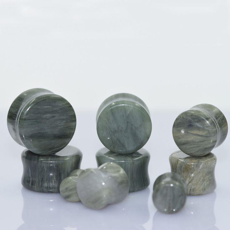 Seda verde Orgánico Natural de Piedra de Jade Tapón Del Medidor de Oído Del Ampliador Del Oído oreja piercing body piercing túnel ear plug 1 par de lágrima